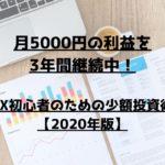 月5000円の利益を3年間継続中! FX初心者のための少額投資術【2020年】